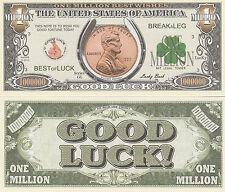 Good Luck Penny Million Dollar Bill Fake Funny Money Novelty Note + FREE SLEEVE