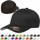 0Original Flexfit Fitted Baseball Hat 6277 Wooly Combed Twill Cap Blank Flex Fit