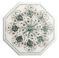 "18"" Marble Coffee Center Table Top Pauashell Inlay Mosaic Restaurant Decor H2697"