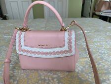 NWOT Michael Kors Ava MINI Crossbody Handbag Leather Blossom Pink/white