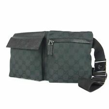 Auténtico Gucci Gg Lona Cuero En La Cintura Bolsa Riñonera Riñonera Italia F/S 11807 bkac