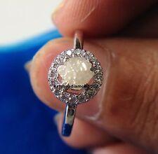 "Diamond Wedding .925 Silver Ring Size 7"" 0.59 ct Super Natural Snow White Rough"