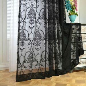 Princess Style European Floral Embroidered Lace Net Curtain for Bedroom 1 Panel