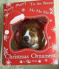 E & S Pets Christmas Xmas Ball Ornament Pit Bull Brindle White Dog