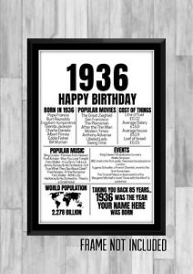 85th 1936 Personalised Birthday Gift Present Poster Print Back In Milestone