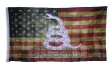 3x5 Gadsden USA American Vintage Tea Stained Don't Tread 3'x5' Banner Grommets