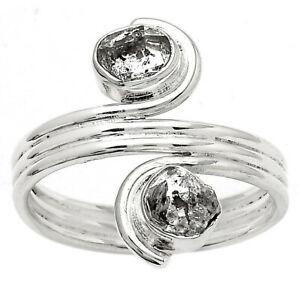 Natural Herkimer Diamond - USA 925 Sterling Silver Ring s.9 Jewelry E452