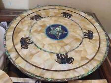 "24""x24"" Elephant Design Handmade Beautiful Marble Inlay Coffee Table Top"