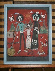 Day of the Dead Family Affair Skelton Skulls Pitch Fork Mexican Folk Art - Velez