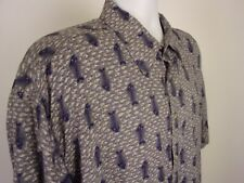 Sun Casuals Button Up Shirt Size XL 100% Rayon Fishbones Short Sleeve Mens
