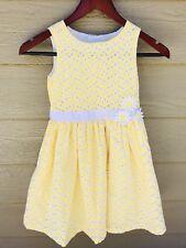 SAVANNAH Kids Girls Sleeveless Dress Size 6X Yellow Eyelet Fully Lined Cotton