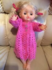 "Vintage 1989 Citi toys doll,plastic 16""drinks+wets blond hair,blue open/shut eye"
