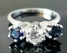 Vintage Brilliant Solitaire Blue Sapphire Accents 14k white gold engagement ring