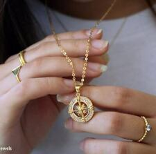 """Compass Necklace Pendant With 18"""" Chain White Diamonds In 14K Yellow Gold Over"""