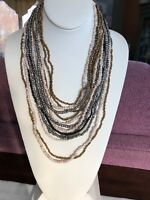 Vintage Multi Strand Beaded Gold Tan Silver And Black Necklace W/Wood Closure