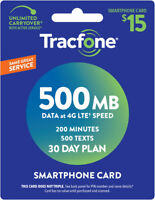 TracFone Smartphone Only Plan - 30 Days/200 Minutes/500 Text/500MB Data