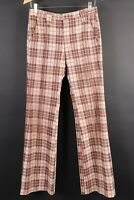 VTG 70s HAGGER Mustang Knits Plaid Bell Bottom Flare Pants Mens Size 30x33