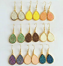 New Fashion Gold Plated Resin Druzy Tear drop Drusy Drop Hook Earrings
