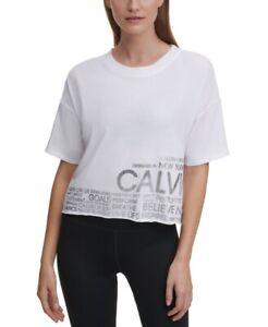 Calvin Klein Performance Women's Cropped Raw-Hem Logo T-Shirt, Size M, $50, NwT