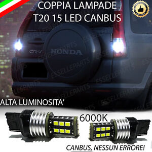 COPPIA LUCI RETROMARCIA 15 LED T20 W21W CANBUS HONDA CR-V II 6000K NO ERROR