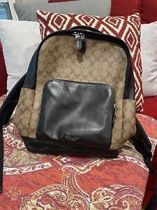 Genuine Coach Graham Leather & Logo Signature  Backpack F38755 Beige & Dk Brown
