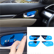 For Honda Civic 2016-2020 Interior Door Handle Bowl Cover Refit Decor Blue Steel