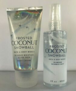 Bath & Body Works FROSTED COCONUT SNOWBALL Diamond Shimmer  Mist & Cream TRAVEL