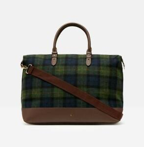 Joules Fulbrook Tweed Holdall in Navy Green Check