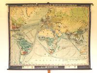 Wandkarte schöne alte Weltkarte Erde Wirtschaft 1/2.Teil ~1940 225x175cm vintage