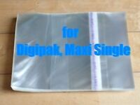Resealable Outer Replacement Plastic Sleeves for CD DIGIPAK, MAXI-SINGLE 100 pcs