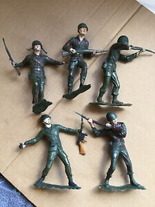 Vintage Louis Marx & Co WW2 American U.S. Toy Soldiers x 5.1960s Used Cond 5inch