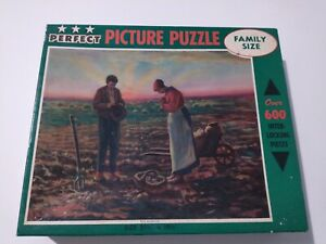 """New Vintage Perfect Picture Puzzle """" The Angelus"""" Prayers at Sunrise over Field"""