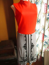 sz 4 SMALL True Vtg 70s DAYGLO ORANGE/GRAY ACETATE SLEEVELESS REGAL MOD Dress