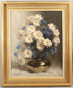 RUDOLPH COLAO American Floral Still Life Oil Painting, Daisy & Anemone Flowers