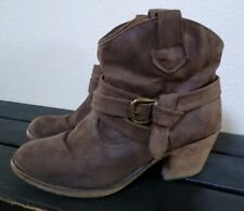 Rocket Dog Western Biker Pull-On Ankle Boots Buckle Detail Brown Size 7.5
