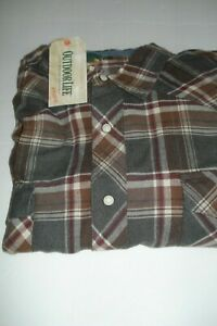 Mens Big & Tall Flannel Shirt Size XXL Western  Style Gray Outdoor Life