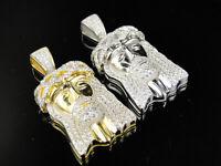 White Or Yellow Gold .925 Silver Iced Out Mini Jesus Piece Lab Diamond Pendant