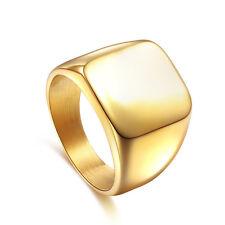 Men Polished Gold Trendy Band Biker Signet Ring Black Silver US Size 7-14