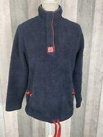 Joules Navy Bonita Button Drawstring Pullover Fleece Size 10