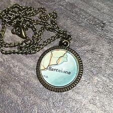 MATARO BARCELONA CATALONIA SPAIN EUROPE Map Pendant bronze necklace ATLAS f04