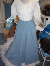 Square Dance White Blouse & Denim Blue Long Prairie Skirt - Sz S