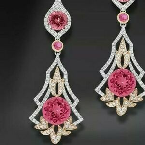 Vintage 9Ct Round Cut Ruby Synt Diamond Chandelier Earrings White Gold Fn Silver