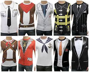 Men's Character T Shirts Inc Cowboy Tuxedo Dr Fireman Pilot Gangster Stag do?