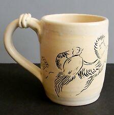 Handmade Crafted Clay Pottery Mug Etched Pheasant Bird Flight Art Signed Bodner