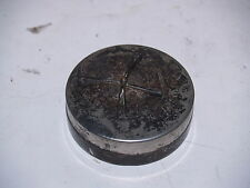 Vintage Napier Pat Pend round silverplate jewelry trinket box for bobby pins
