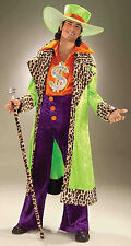 Mens Big Daddy Pimp Costume Leopard Trim Jacket Disco 1970's Size Standard
