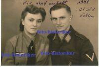 selt Archiv Foto: Portrait Kamerad Fallschirmjäger und Frau WH Funkerin Uniform