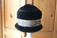 Parkhurst Black Faux Fur Trim Cloche Hat Made in Canada