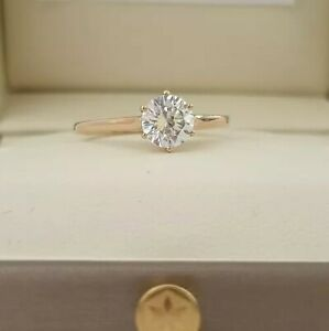 9ct or Jaune Rond Coupe Diamant Synthétique Tiffany Motif Bague Taille Q