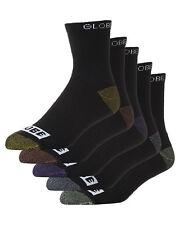 New Globe Men's Romney Crew Sock 5 Pack Nylon Spandex Black